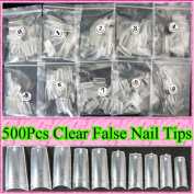 Ungfu Mall 500pcs Clear Nail Tips Artificial Nails Art