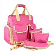 Multifunctional Large Capacity Mummy Nappy Bag With Changing Pad 6 Pieces Set Grande pink