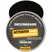 Groomarang Activated Charcoal And Coconut Shell Mint Orange Teeth Whitening Powder 50g