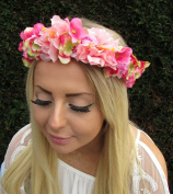 Hot Pink Light Pink Hydrangea Rose Flower Headband Hair Crown Garland Boho 1686 *EXCLUSIVELY SOLD BY STARCROSSED BEAUTY*