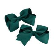 GIZZY® Girls Two Piece Dark Green Bows Hair Clip Set.