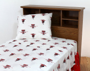 College Covers Texas Tech Red Raiders Printed Sheet Set - Full - White