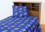 College Covers Kansas Jayhawks Printed Solid Sheet Set, Twin X-Large