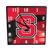 NCAA North Carolina State University Official Carbon Fibre Square Clock, Multicolor, One Size