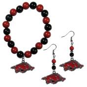 NCAA Arkansas Razorbacks Fan Bead Earrings & Bracelet Set