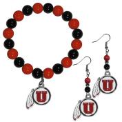 NCAA Utah Utes Fan Bead Earrings & Bracelet Set