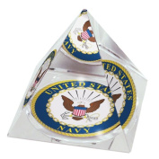 United States Navy Logo Image in Large 20cm Crystal Pyramid with Gold Coloured Jewellery Case