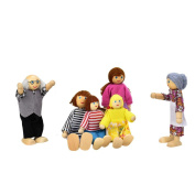 6 Cartoon Wooden Family Puppet,Hemlock Baby House Family People Dolls Playing Toys