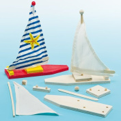 Make Your Own Wooden Sailboat - Craft Kits for Children to Make Paint & Decorate -Pack of 2