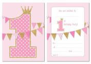 First Birthday Party Invitations - Pink with Gold Glitter Effect - 24 x A6 postcard size cards