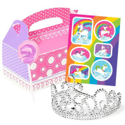 Fairytale Unicorn Rainbow Party Supplies Filled Favour Boxes for 4