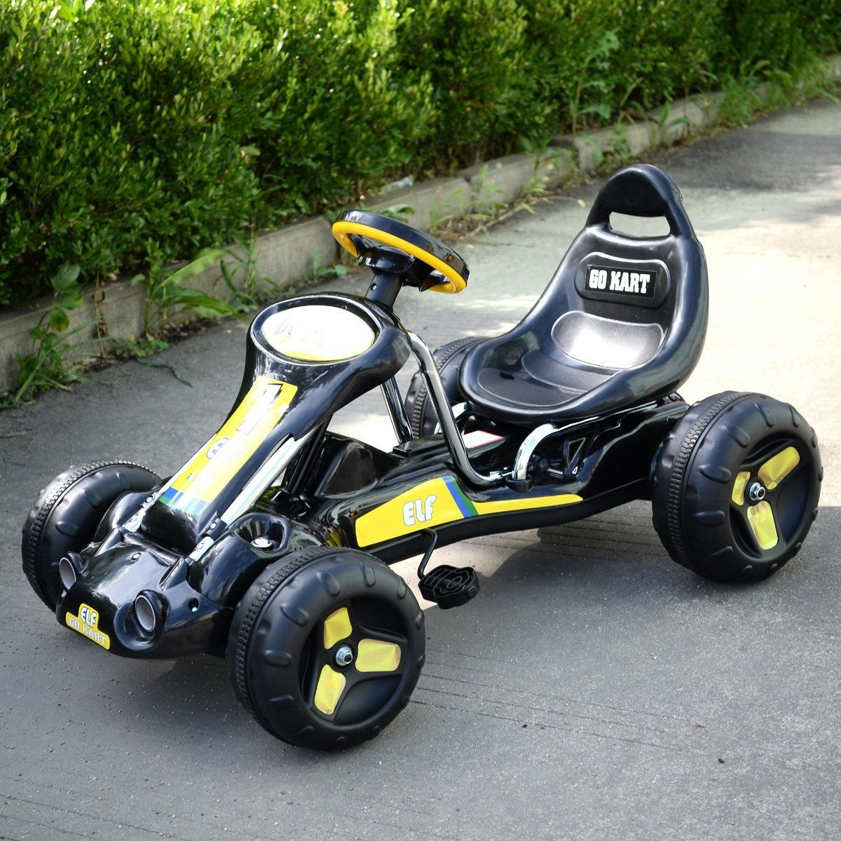 JAXPETY Go Kart Kids Ride 4 Wheel on Car Stealth Pedal Powered Outdoor  Racer New Black