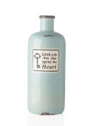 """Turquoise Cylindrical bottle 32cm X 32cm Love is"""" Stoneware X32"""