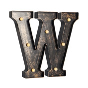 Light-up 12-inch (30cm) LED Marquee Letters with Antique Industrial Finish - Choose from Antique Bronze or Silver Finish