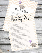 Baby Shower Game - Who Knows Mummy Best - 11 Sheets Cute Elephant and Chevron Design