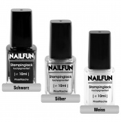 NAILFUN 3x 10 ml Stamping Polishes - Black, Silver and White