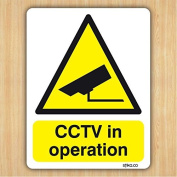 CCTV in operation Sticker - Site Safety & Security Signs - 10cm x 13cm on white self adhesive vinyl