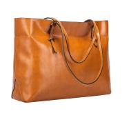 S-ZONE Women's Vintage Genuine Leather Tote Shoulder Bag Handbag
