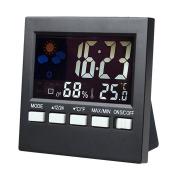.   LCD Screen Digital Indoor Weather Forecast Temperature Humidity Monitor Alarm Clock,Black