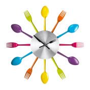 Wall clock Cutlery fork + spoon multi-coloured 37 cm