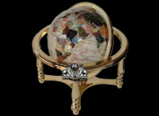"13"" Tall 220MM Diameter Pure White Pearl Powder Ocean Desk top Gemstone Globe with Gold Stand"