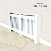 Traditional Radiator Cover Cabinet Vertical Slatted High Quality MDF Wood Box Unit Flat Pack Painted - LARGE - White 152x19x81.5cm