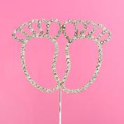 Diamante Cake Topper - Baby Feet - 7.8 x 5.8cm