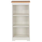 Core Products Low Narrow Bookcase with Oak Veneered Tops, Wood, Soft Cream