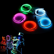 AUDEW 5x1m EL Wire Neon Light Bulb Neon Glowing Strobing Electroluminescent Wire for Christmas Rave Party Halloween costume New Year Decoration+ Battery Box