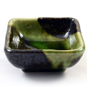 Iridescent Green Glazed Japanese Ceramic Dish
