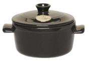 Emile Henry Ceramic Poivre Dark Grey Round Casserole Stewpot 16cm 1L