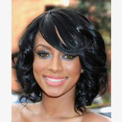 Jet Black Synthetic Hair Wig Short Curly Wigs with Side Bangs Heat Resistant Fibre Full Wigs for Woman