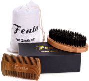 Fento Boar Bristle Beard Brush and Beard Comb Set - For Men Beard and Moustache, Thick & Thin Teeth Sandal Wood Comb, With Gift Box and Carrying Bag