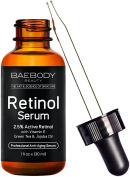 Baebody Retinol Serum 2.5% for Face, Professional Anti-Ageing Topical Facial Serum, Anti-Wrinkle & Reduce Fine Lines, Clinical Strength Organic Ingredients w Vitamin E, Hyaluronic Acid, Jojoba Oil 30ml