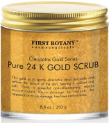 The BEST 24K Gold Scrub for Face and Body 260ml reduces the appearance of Sun Damage, Fine Lines and Wrinkles- Powerful Body Scrub Exfoliator and Daily Moisturiser For All Skin Types