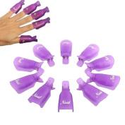 ☀ KESEE 10PC Plastic Nail Art Soak Off Cap Clip UV Gel Polish Remover Wrap