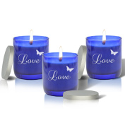 SET OF 3 - personalised BLUE COLLECTION CANDLE : LOVE WITH BUTTERFLY