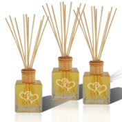SET OF 3 - Personalised Reed Diffuser Complete with oil Double Heart