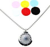 Sunflower Design Essential Oil Diffuser Necklace Stainless Steel Locket Pendant