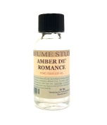 Amber De' Romance Pure Perfume Oil. Use for Perfume Making, Personal Body Oil, Soap, Candle Making & Incense; 30ml Splash-On Clear Glass Bottle. Pure Undiluted, Alcohol Free Undiluted Fragrance Oil