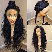 Fushen Hair Silk Top Full Lace Human Hair Wigs for Black Women Brazilian Wavy 46cm Silk Top Full Lace Wig with 130% Density Natural Hair Colour