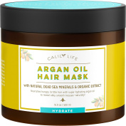 CalilyLife Organic Moroccan Argan Oil Hair Mask with Dead Sea Minerals, 500ml- Deep Conditioner and Nourishing - Detoxifies, Softens, Strengthens & Shines – Promotes Healing and Natural Hair Growth