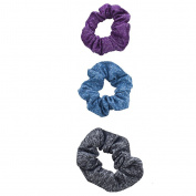 Lux Accessories Purple Blue Black Stretch Scrunchie Ponytail Holder Pack 3pcs