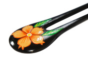 Areng Wood Orange Painted Hibiscus Flower w/ Leaves Double Prong Hairstick