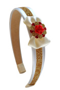 Beauty and the Beast Belle Headband with Mini Satin Bow and Red Rose Centre By Funny Girl Designs