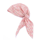 Girls Bohemian Turban Pre-tied Headscarf - Floral - Rosy Pink