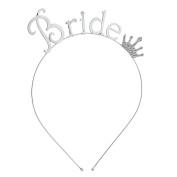 Lux Accessories Silver Tone Rhinestone Crown Bride Bridal Bachelorette Headband