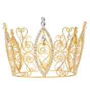 DcZeRong Gift Box Packed Amazing Personality Pageant Queen Rhinestone Crown Gold
