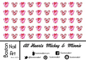 All Hearts Mickey & Minnie Mouse - Waterslide Nail Decals - 50pc