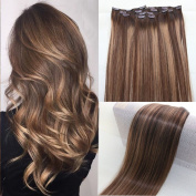 BeautMiss 60cm 100% Remy Human Hair Clip in Extensions Ombre/Dip Dye Off Chocolate Brown and Honey Blonde Full Head 7pcs/Set 120g Balayage Highlights Hair Extensions